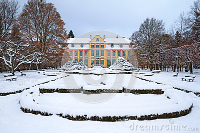 Snowy scenery of Abbots  Palace in Oliwa