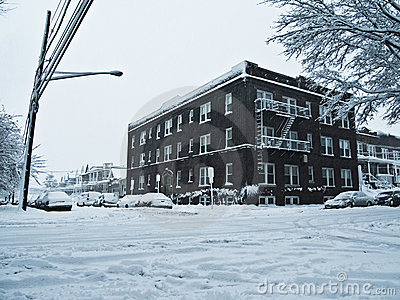 Snowy street corner.