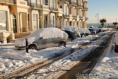 Snowy street, St.Leonards-on-Sea Editorial Photo