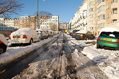 Snowy street, St.Leonards-on-Sea Editorial Photography
