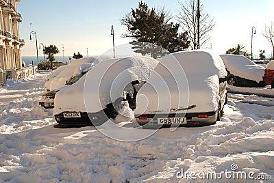 Snowy street, St.Leonards-on-Sea Editorial Photo