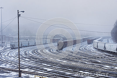 Snowy Train Yard
