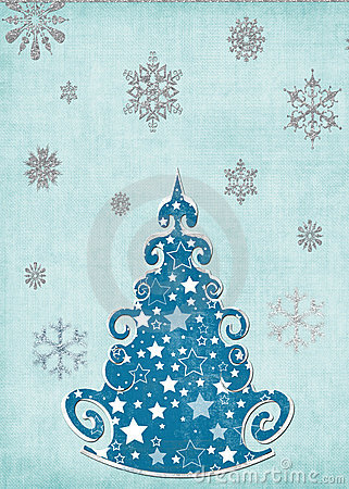 Snowy tree card template