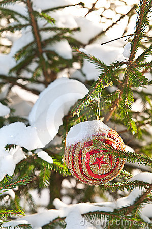 Snowy tree with Christmas decoration
