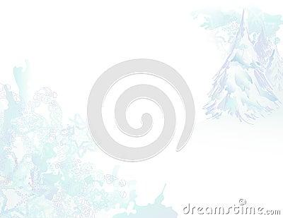 Snowy Watercolor Grunge Landscape