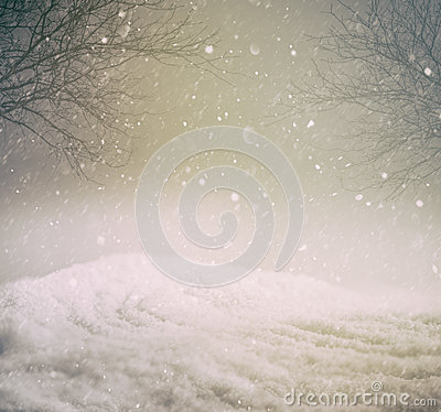 Snowy winter background