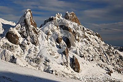 Snowy winter mountains in Romania