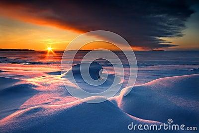 Snowy winter seascape