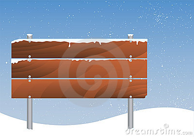 Snowy Wooden Signboard