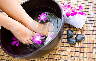 Woman Soaking Feet In Bowl Of Water Stock Images - Image: 6328354