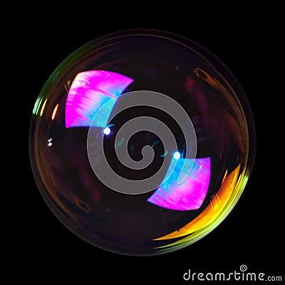Soap bubble on black