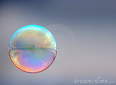 Soap bubble on gray