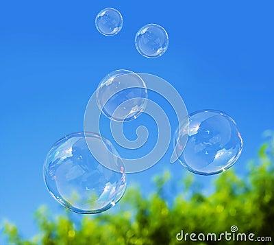 Free Soap Bubble On Blue Sky Royalty Free Stock Photo - 44487305