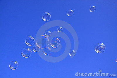 Soap bubbles in the blue sky