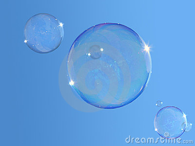 Soap-bubbles on blue sky