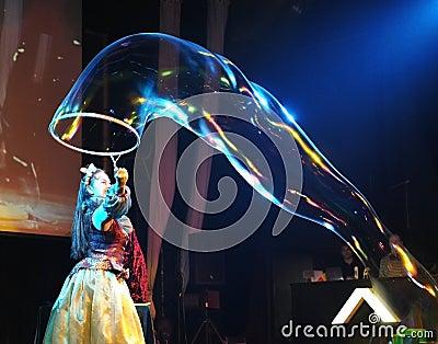 Soap  bubbles frestival at Vladivostok Editorial Image