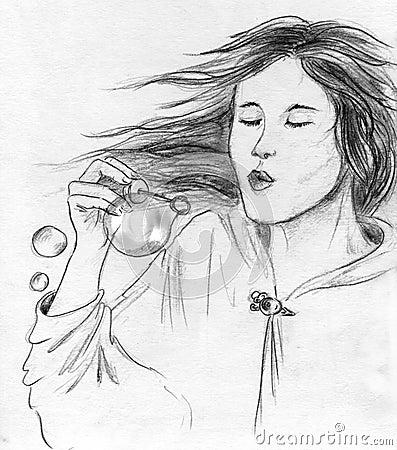 Soap bubbles girl