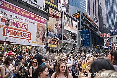 Soap bubbles in Times Square