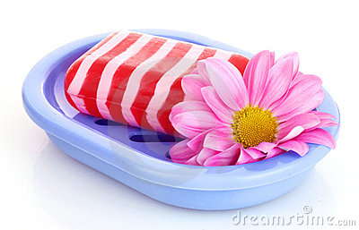 Soap, flower and soap-dish isolated