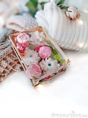 Free Soap Floweres In Box, Knitted Clothing, Rose And Lights On White Background. Stock Photography - 133708982