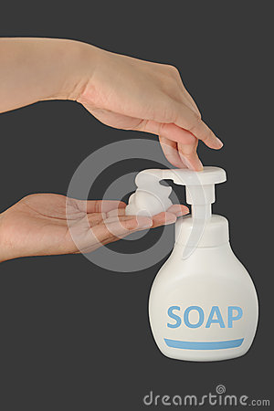 Soap foam on grey background