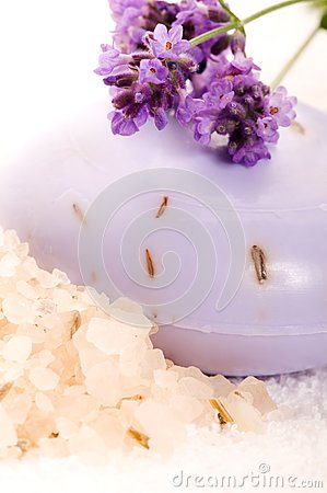 Soap With Fresh Lavender Flowers And Bath Salt