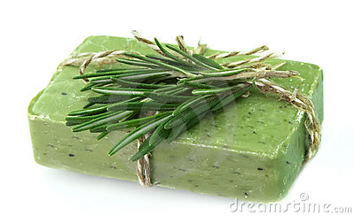 Soap with fresh rosemary