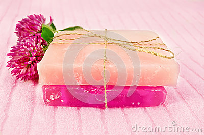 Soap homemade with pink clover