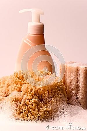 Soap, natural sponge and shower gel