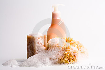 Soap, natural sponge and shower gel