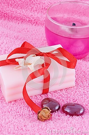 Soap with roses and candle