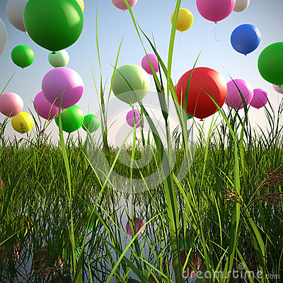 soaring balloons in a field of grass 3d illustrate