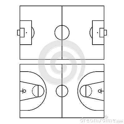 Free Soccer And Basketball Fields. Vector Royalty Free Stock Images - 44622399