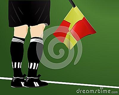 An soccer arbiter with flag