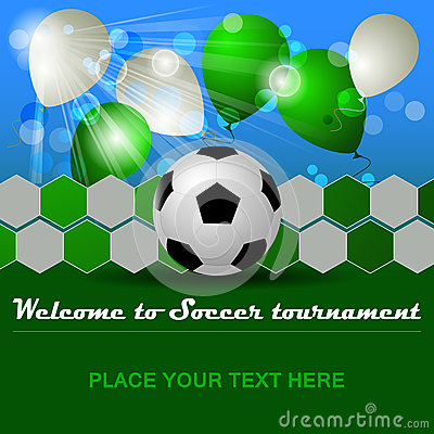 Soccer background with ball and balloons for tournament