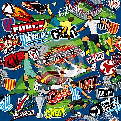 Free Soccer Background. Seamless Pattern. Football Attributes, Football Players Of Different Teams, Balls, Stadiums, Graffiti, Inscript Stock Images - 115745044