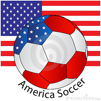 Soccer ball of America with Flag
