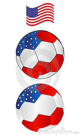 Soccer ball of America with flying Flag