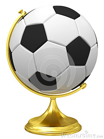 Free Soccer Ball As Terrestrial Globe On Golden Stand Stock Photo - 29863990