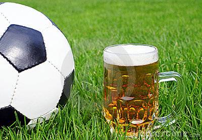Soccer ball with beer mug