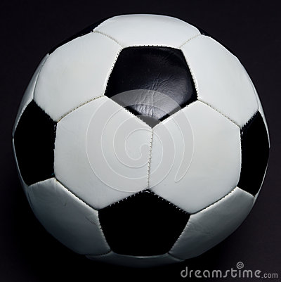 Soccer ball on black