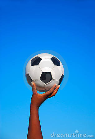 Soccer ball in black hand