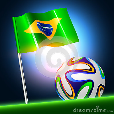 Soccer ball 2014 with brazil flag, vector illustration Editorial Photography