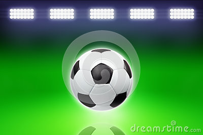Soccer ball, bright light