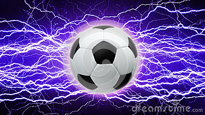 Soccer ball, bright lightnings