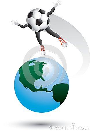 Soccer ball character on top of the world