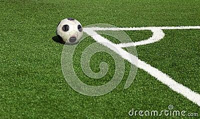 Soccer ball,corner- selective focus