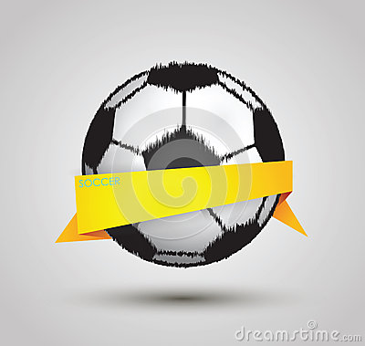 Soccer ball design by origami on white background
