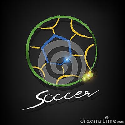 Soccer ball drawing on a blackboard