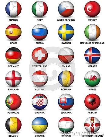 Free Soccer Ball European Countries Flags Euro 2016 Royalty Free Stock Photo - 63285715